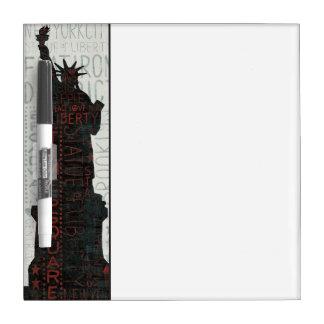 Tableau Effaçable À Sec Statue de silhouette de liberté