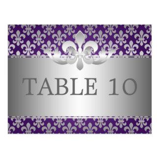 Tableau élégant Number Fleur De Lis Purple Carte Postale