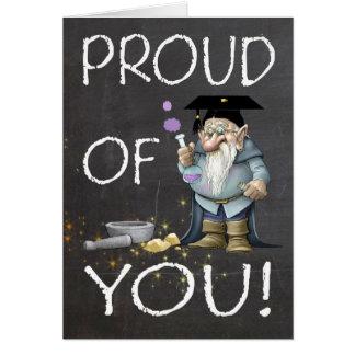 Tableau fier de vous obtention du diplôme avec le carte de vœux