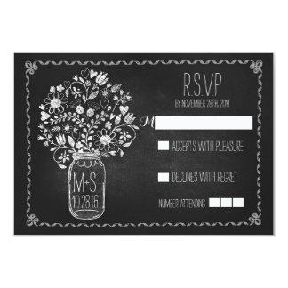 tableau floral de pot de maçon épousant des cartes carton d'invitation 8,89 cm x 12,70 cm