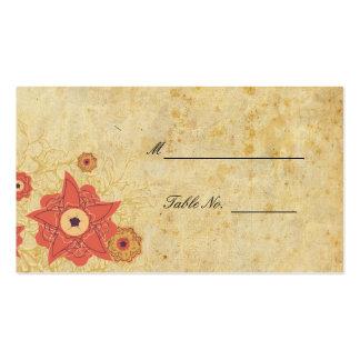 Tableau floral vintage Placecards de réception de Carte De Visite Standard