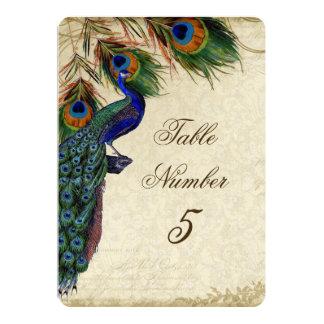 Tableau formel numéro 5 de paon et de mariage de carton d'invitation  12,7 cm x 17,78 cm