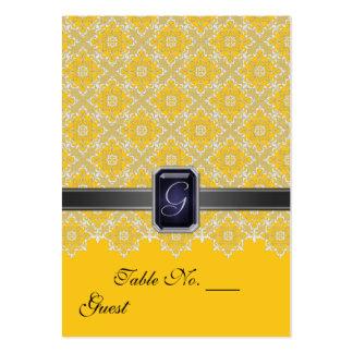 Tableau jaune et noir PlaceCard de mariage de Carte De Visite Grand Format