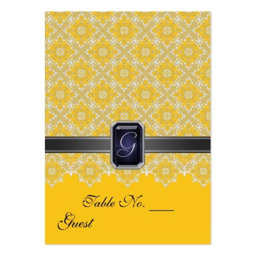 Tableau jaune et noir PlaceCard de mariage de dent Modèles De Cartes De Visite