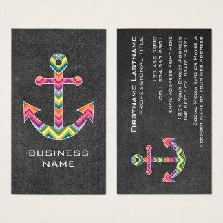 Tableau nautique d'ancre avec les chevrons cartes de visite
