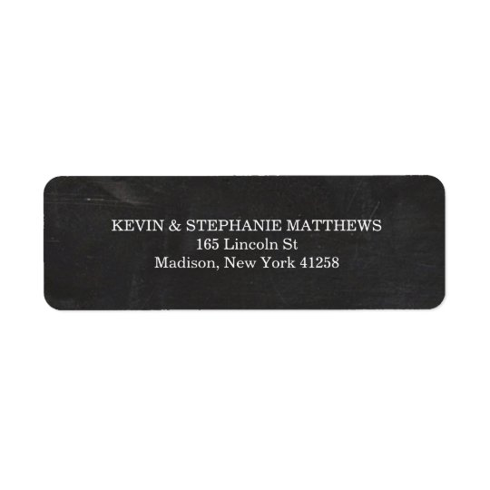 Tableau noir et blanc étiquettes d'adresse retour