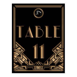 Tableau noir numéro 11 de style de Gatsby d art dé Carte Postale