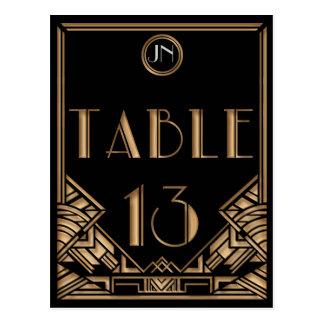 Tableau noir numéro 13 de style de Gatsby d art dé Cartes Postales