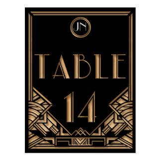 Tableau noir numéro 14 de style de Gatsby d art dé Carte Postale