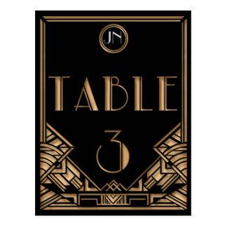 Tableau noir numéro 3 de style de Gatsby d'art Carte Postale