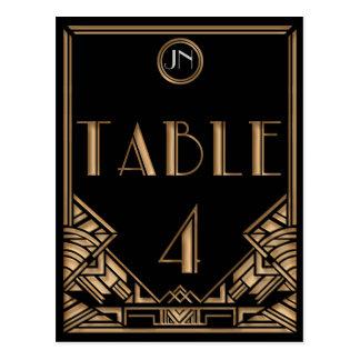 Tableau noir numéro 4 de style de Gatsby d art déc Cartes Postales