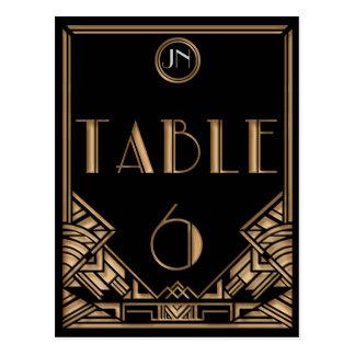 Tableau noir numéro 6 de style de Gatsby d'art déc Cartes Postales