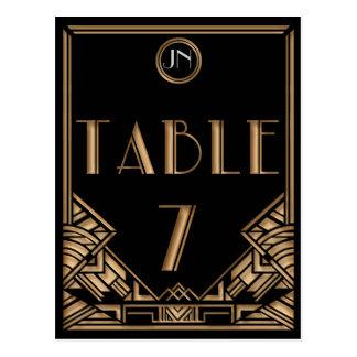 Tableau noir numéro 7 de style de Gatsby d'art déc Carte Postale