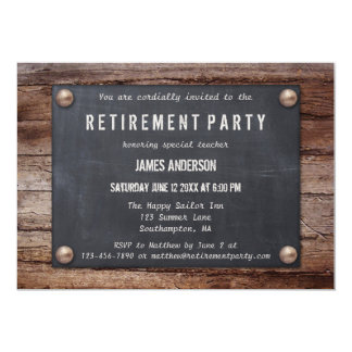 Tableau noir rustique à l'invitation en bois de carton d'invitation  12,7 cm x 17,78 cm