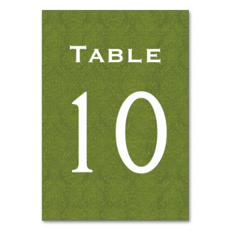 Tableau numéro 10 de mariage damassé de vert olive