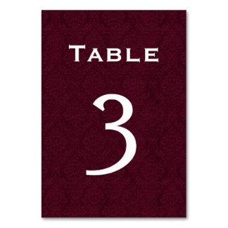 Tableau numéro 3 de mariage damassé de vin
