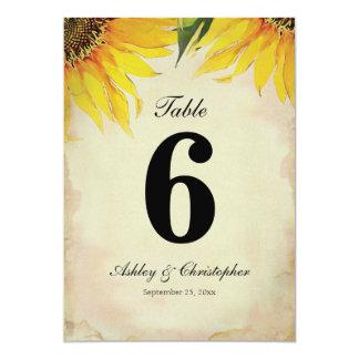 Tableau numéro six de réception de mariage de carton d'invitation  12,7 cm x 17,78 cm