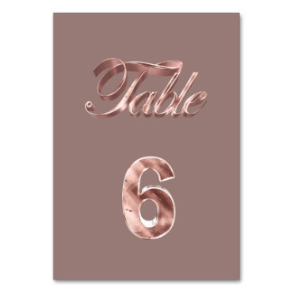 Tableau rose chic élégant numéro 6 d'invités de