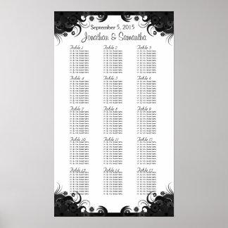 Tableaux noirs et blancs du mariage 15 posant des poster