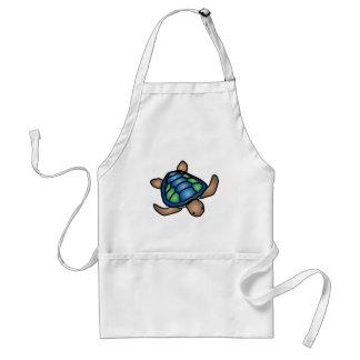 Tablier bleu de tortue verte