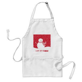 Tablier bonhomme de neige rouge et blanc contemporain