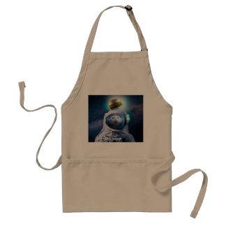 Tablier Chat d'astronaute regardant l'hamburger