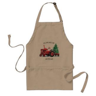 Tablier Chef vintage rouge d'arbre de Noël de tracteur
