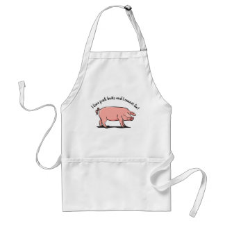 """Tablier """"Comme des bouts de porc. """"Tablier avec le porc"""