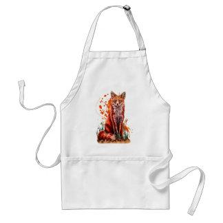 Tablier Dessin d'art animal rouge de Fox et de peinture