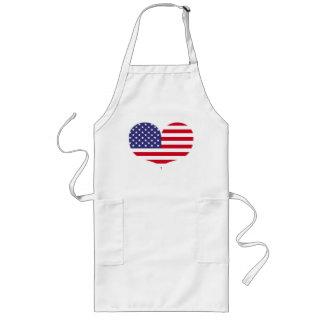 Tablier en forme de coeur de drapeau américain