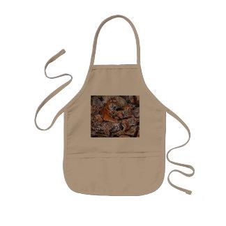 Tablier Enfant Art de petit-tigre de famille-tigre de
