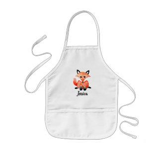 Tablier Enfant Fox de faune de région boisée d'aquarelle de