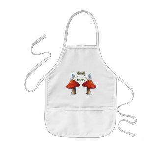 Tablier Enfant Gnomes avec des marguerites, champignons,