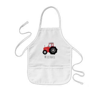 Tablier Enfant Tracteur rouge de ferme du griffonnage frais du