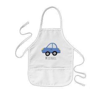 Tablier Enfant Véhicule bleu et nom de voiture du griffonnage
