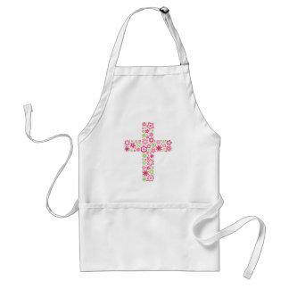 Tablier floral chrétien vert rose de croix de fleu