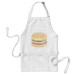 Tablier Hamburger illustré avec le mot d'amour