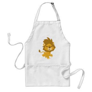 Tablier heureux de cuisine de lion de bande dessin