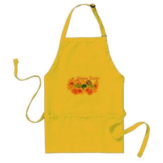 """Tablier """"Joyeuses Pâques"""", florales, oeufs, coloré, drôles"""