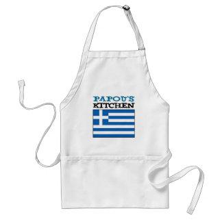 Tablier La cuisine de Papou avec le drapeau de la Grèce