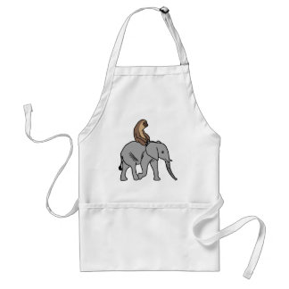 Tablier Paresse mignonne montant un éléphant
