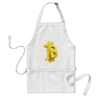 Tablier Signe de symbole d'or de Bitcoin 3d