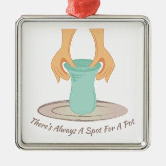 Tache pour un pot ornement carré argenté