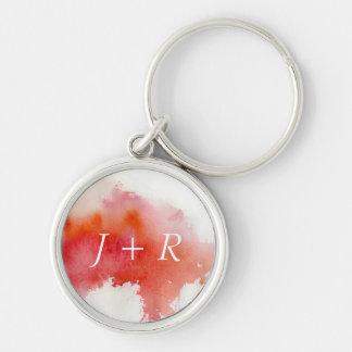 Tache rouge, peint à la main abstrait d'aquarelle porte-clé rond argenté