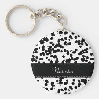Taches dalmatiennes noires et blanches porte-clé rond