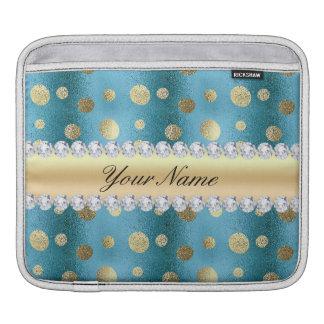 Taches de feuille d'or de Faux sur le bleu Housse Pour iPad