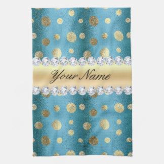 Taches de feuille d'or de Faux sur le bleu Serviettes Pour Les Mains