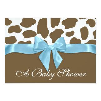 taches de girafe et baby shower bleu d 39 arc carton d 39 invitation 12 7 c