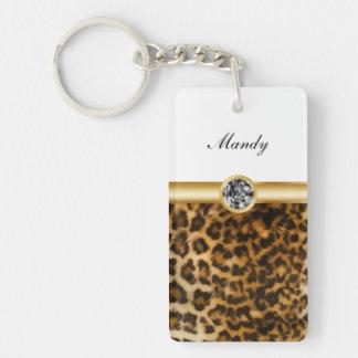 Taches de léopard de porte - clés de monogramme de porte-clé rectangulaire en acrylique double face