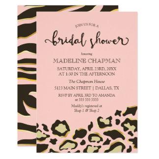 Taches de léopard et douche nuptiale de rayures de carton d'invitation  12,7 cm x 17,78 cm